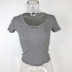Brandy Melville Black White Striped T Shirt Top SM